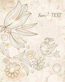 Línea de dibujo, fondo con pájaros y flores — Vector de stock