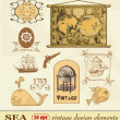 Set sea, label and vintage design elements. — Stock Vector