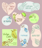 Set of vector vintage cards with birds, and flowers — 图库矢量图片