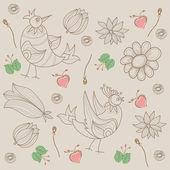 Floral seamless pattern mit vögeln. — Stockvektor