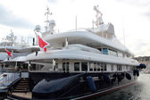 Large luxury yacht in the harbor of Cannes — ストック写真