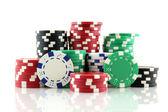 Stack of white casino gambling chips — Stock Photo