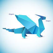 Illustration of a blue origami dragon figure — Stock Vector