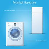Kitchen refrigerator and washing machine — Stock Vector