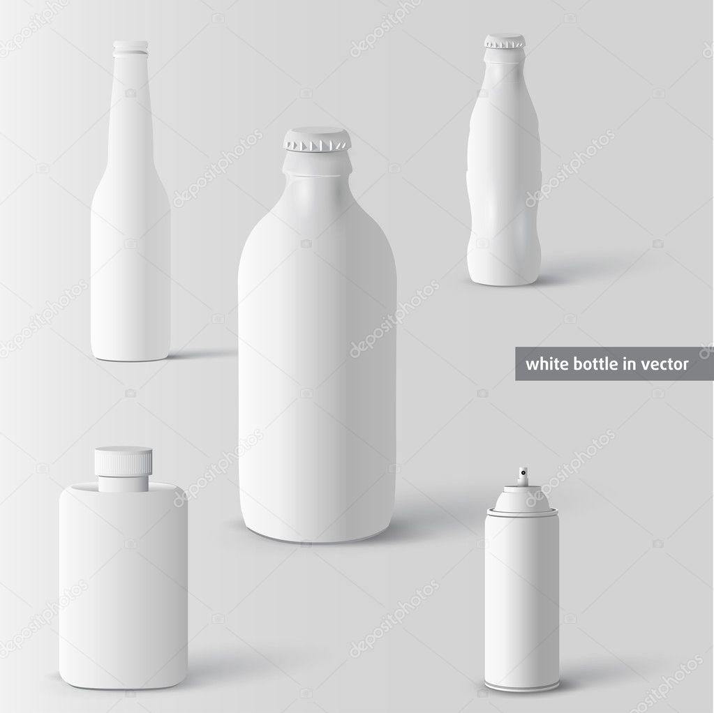 Vector set of white bottles illustration — Stock Vector #11513492