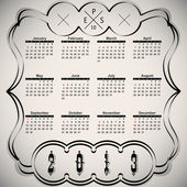 Calligraphic elements - black design calendar — Stock Vector