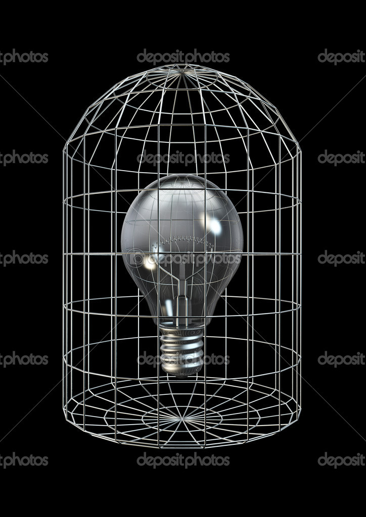 3D render of lightbulb in cage  Stock Photo #10749835