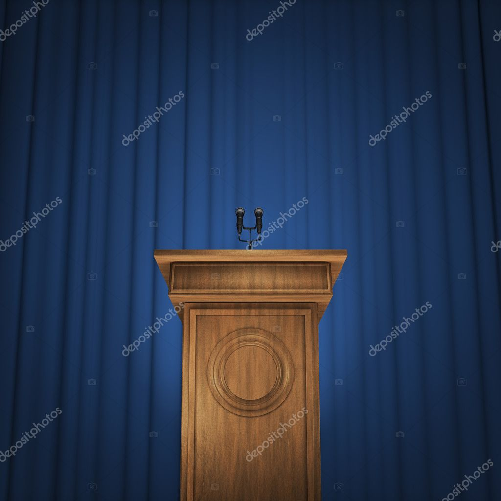 3D render speaker podium with microphones and blue curtain background — Stock Photo #11054317
