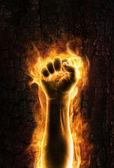 Fist of fire — Stock Photo