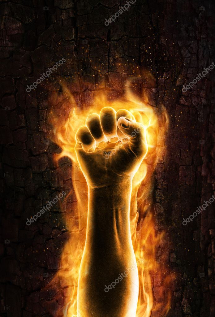 Grungy burning fist of fire — Stock Photo #11644106