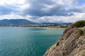 Panorama. morze czarne w mieście sudak — Zdjęcie stockowe