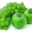 Stock Photo: Apples and grapes on white background