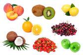 Zestaw świeżych owoców na białym tle — Zdjęcie stockowe