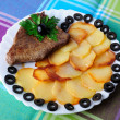 Veal with fried potatoes on a plate — Stock Photo #11594976