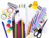 School education supplies items isolated on a white background — Stock Photo