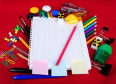 School education supplies items isolated on a red background — Stock Photo