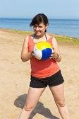 La mujer con una bola — Foto de Stock