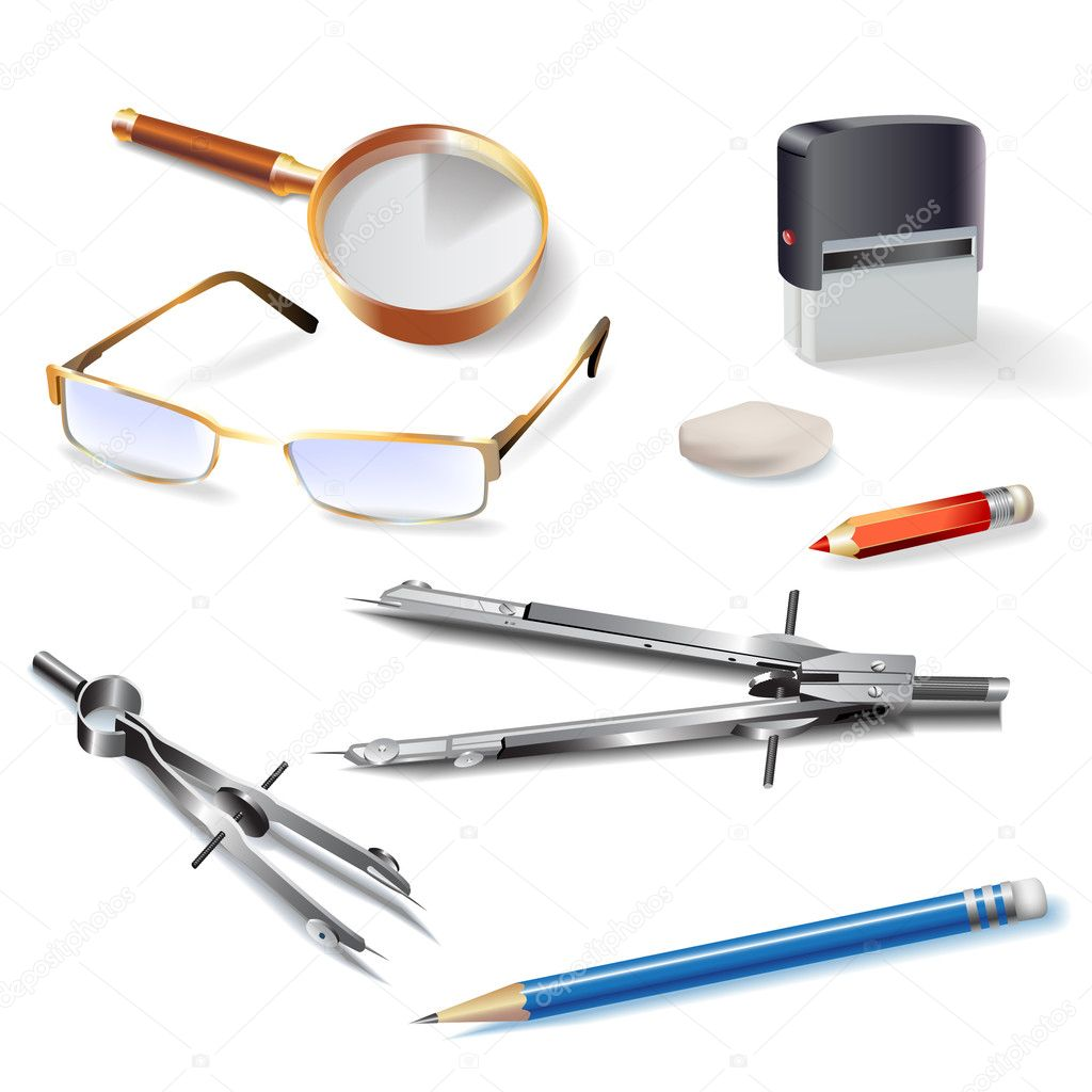 Set Of Architectural Drawing Tools Stock Vector