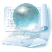 Architektonischen hintergrund mit einem globus — Stockvektor