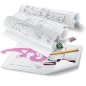 Architectural background with rolls of drawings (vector) — Stockvektor