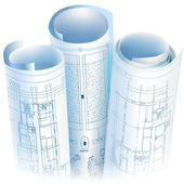 Architectural background with rolls of drawings (vector) — Stockvector