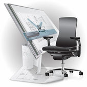 Part of office interior with a chair and architectural drawings — Vector de stock