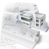 Fondo arquitectónico con un edificio modelo y rollos de dibujos en 3d — Vector de stock