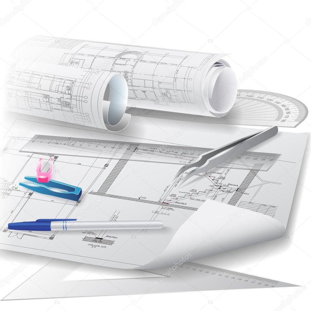 Sfondo architettonico con rotoli di disegni tecnici for Software di piano architettonico
