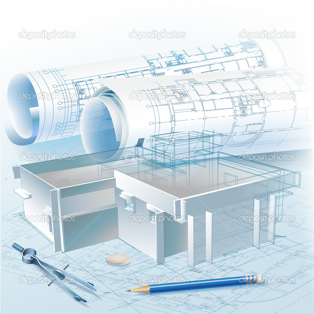 Picture Book Illustration Making An Architectural Model: Architectural Background With A 3D Building Model And