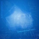 Stedelijke blauwdruk met een 3d-model gebouwen. — Stockvector