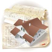 グランジ建築背景、3 d モデルの構築 — ストックベクタ