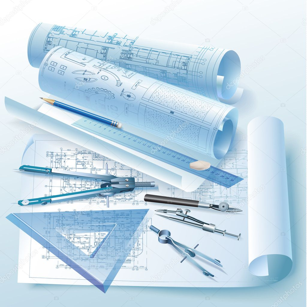 Architectural Background With Drawing Tool And Rolls Of