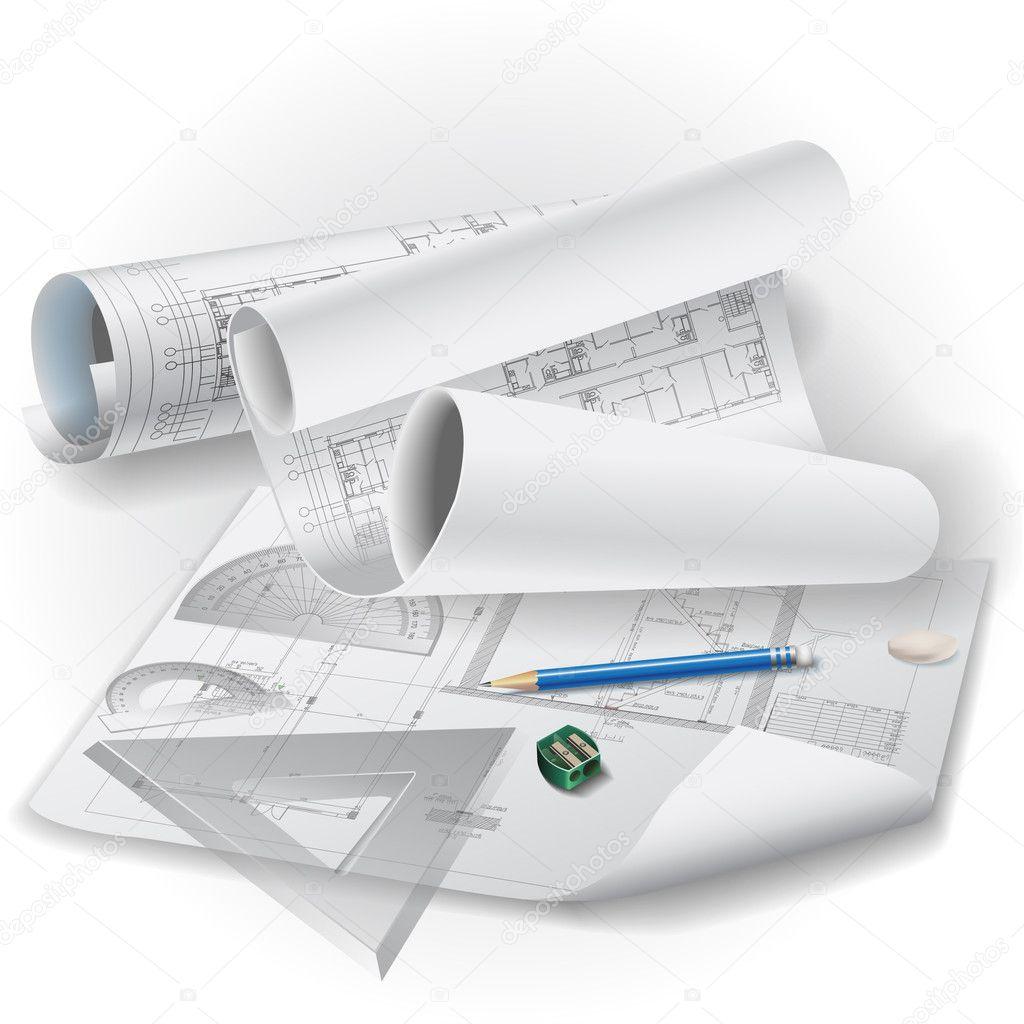 Sfondo architettonico con disegno strumenti e rotoli di for Architecture drawing tools