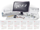 Calendar for 2013 with architectural design elements — Stock Vector