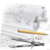 Teknik çizimler ile mimari arka plan — Stok Vektör