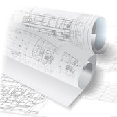 Architectural background with rolls of technical drawings — Stock Vector