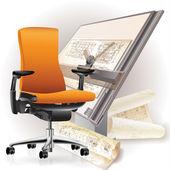 Kancelář interiéru s židlí a architektonických výkresů — Stock vektor