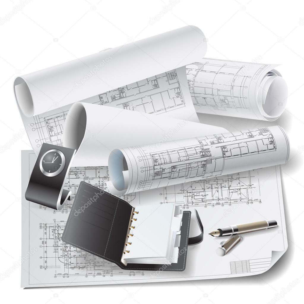 Sfondo architettonico con disegni tecnici e strumenti di for Software di piano architettonico