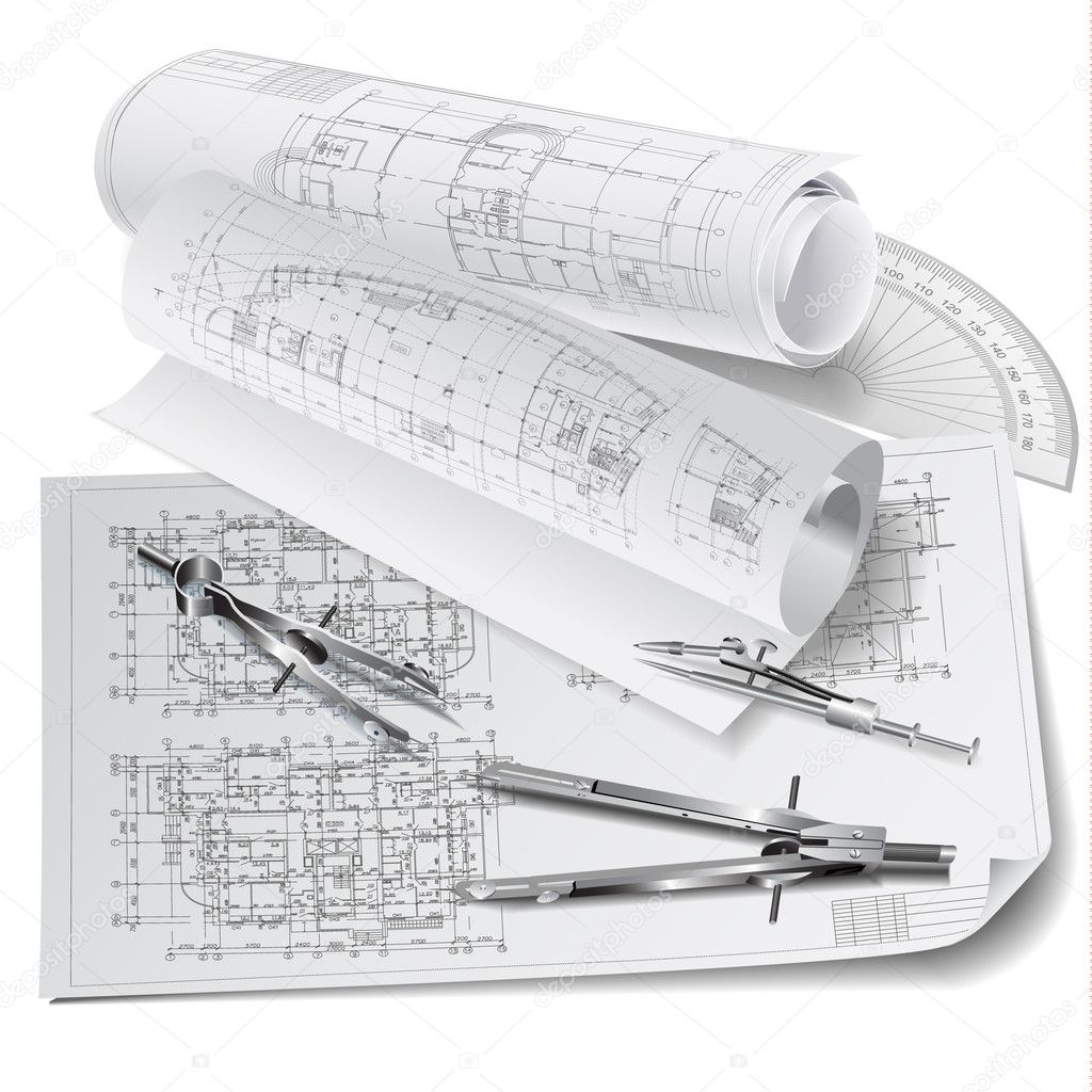 Architectural background with drawing tools and technical for Paper for architectural drawings