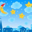 Cute illustration of night roofs, funny moon and stars — Stock Vector