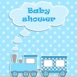 Baby shower for boy with scrapbook elements — Stock Vector #11443069