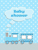 Baby shower for boy with scrapbook elements — Stock Vector
