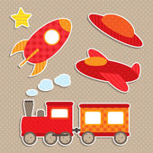 Juego de pegatinas de transporte colorido vector lindo — Vector de stock