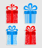Set of stickers - red and blue gift boxes — Stock Vector