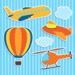 Set of cute vector colorful aircraft stickers — Stock Vector