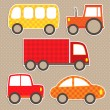 Set of cute vector colorful transport stickers. Cars. — Stock Vector