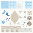 Vintage technology scrapbooking kit - Stock Vector