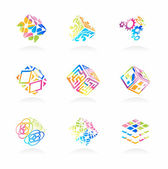 Vector network cube icons set — Stock Vector