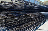 Steel cage made from steel bars and welded steel wire — Stock Photo