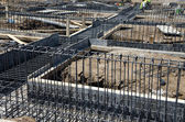 Reinforcing steel bars in big structure foundation — Stock Photo